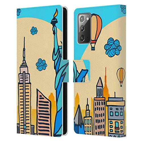 Head Case Designs Licenciado Oficialmente Haroulita Nueva York Mezcla de gráficos Carcasa de Cuero Tipo Libro Compatible con Samsung Galaxy Note20 / 5G