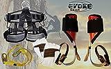 Evoke Gear Tree Climbing Spike Set Aluminum Pole Spurs Climbers, Pro Harness kit + Kevlar Climbing Glove (X-Large)