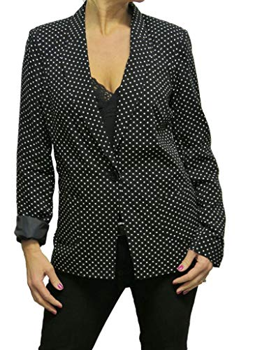 icecoolfashion Lichtgewicht Polka Dot Tailored Jacket Wasbaar Volledig Gevoerd Zwart 8-10