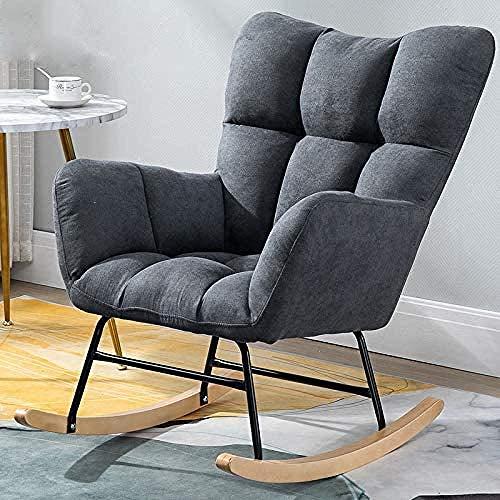 Mecedora Moderna Mecedora reclinable tapizada con Patas de Madera Maciza Dormitorio Sala de Estar...