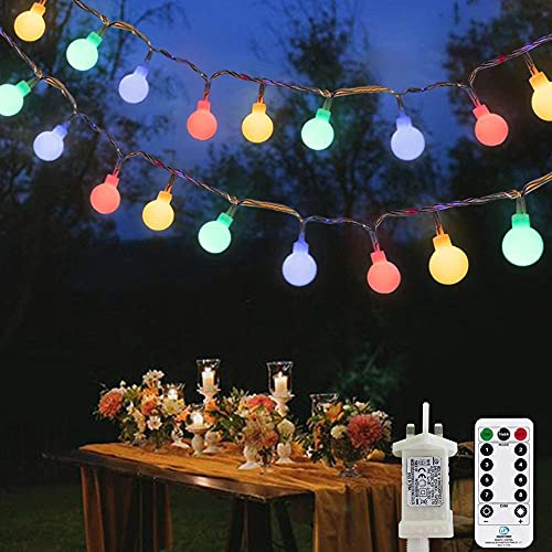 A-Generic Enchufe de Luces de Hadas en 100 Leds 15m / 49ft Luces de Cadena de Globo 8 Modos Luces de jardín con Control Remoto Temporizador Luces de Navidad al Aire Libre/Interior para (Multicolor)