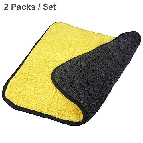 Auto Detailing Handdoeken Ultra Dikke Dubbele Lagen Microvezel Polijsten Waxen Drogen Schoonmaken Handdoek voor Auto Thuis Keuken Meubels Yellow (2 Packs)