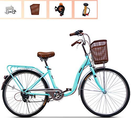 Ti-Fa Bicicleta de Mujer City Ocio Bicicleta Aluminio Cruiser Bike 24'6 velocidades Cambio V Frenos Ciudad luz Viajero Retro Damas Adulto con Cesta de Coche