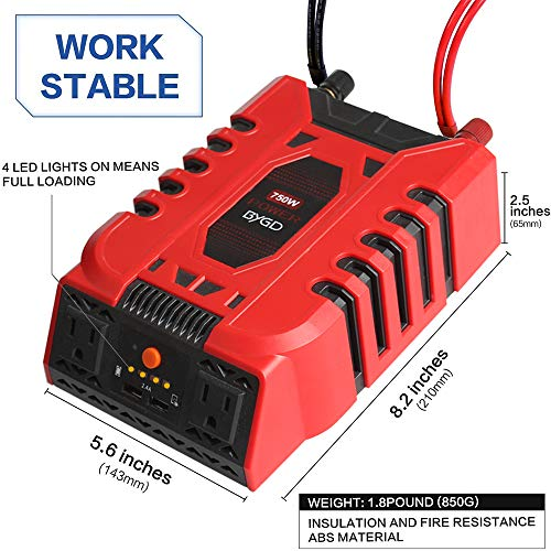 BYGD Car Power Inverter 750W 12V DC to 110V AC Converter with 2 Outlets and Dual 2.4A USB Ports Fast Car Charger Adapter(750W)