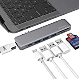 dodocool MacBook Pro ハブ 4K HDMI Thunderbolt 3 SD/MicroSD カードリーダー 3 USB3.0 MacBook Pro 2019/2018/2017/2016 13''15''16''/ MacBook Air 2019/2018に対応 USB C ハブ 5Gbps高速データ転送 100W PD 充電 512GBメモリー (スペースグレイ)