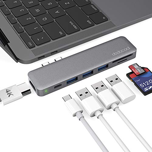 dodocool 7-en-1 Hub USB C para MacBook Pro 2018/2019/MacBook Air 2019/2018 (4K Video HD, Lector de Tarjetas SD/TF, USB C Power Delivery, 3 SuperSpeed USB 3.0) Adaptador Tipo C Soporte Thunderbolt 3