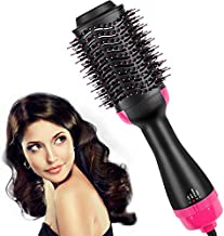 Hair Dryer Brush,Hot Air Brush, One Step Hair Dryer & Volumizer, Styler for Straightening, Curling, Salon Negative Ion Ceramic Electric Blow Dryer Rotating Straightener Salon Negative Ion