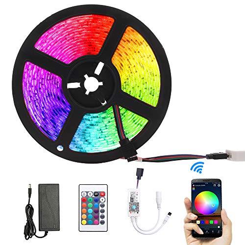 OWSOO 5M Tiras LED RGB, Tiras de Luces LED con 300 Leds 5050 12V, Soporta Control Remoto de App/IR Mandos a Distancia, Compatible con Amazon Alexa, Sincronizar con Música