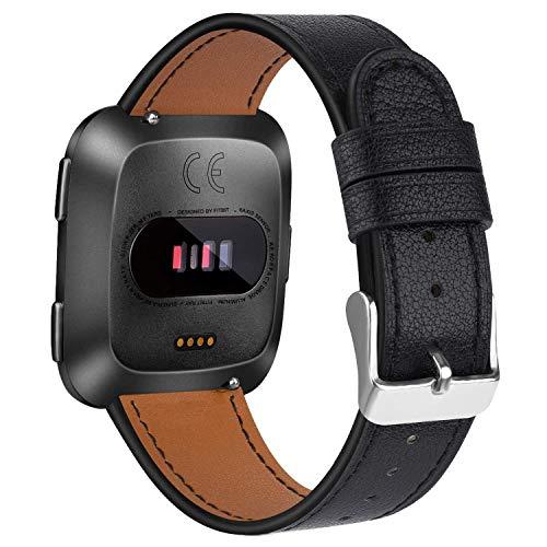 Amzpas Armbänder Kompatibel mit Fitbit Versa 2 Armband/Fitbit Versa Armband, Lederband Ersatzband Modisch Verstellbares für Fitbit Versa & Versa Lite Edition (01 Schwarz, One Size)