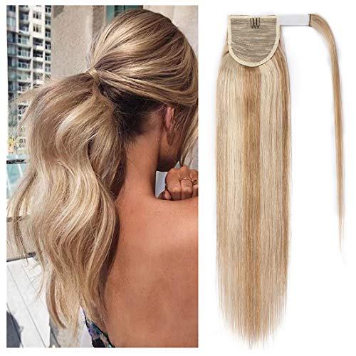 S-noilite Ponytail Extension Human Hair Balayage Wrap Around Ponytail Hair Extension Clip in Binding Ponytail Hair Piece 100% Remy Human Hair Long Straight 18 Inch #18/613 Ash Blonde/Bleach Blonde
