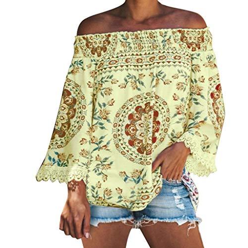 TEFIIR Damen Lässiges Schulterfreies mit Blumendruck Oberteil Casual T-Shirt Langarm Bluse Verziert Lose Tops Geeignet für Freizeit, Urlaub und Dating