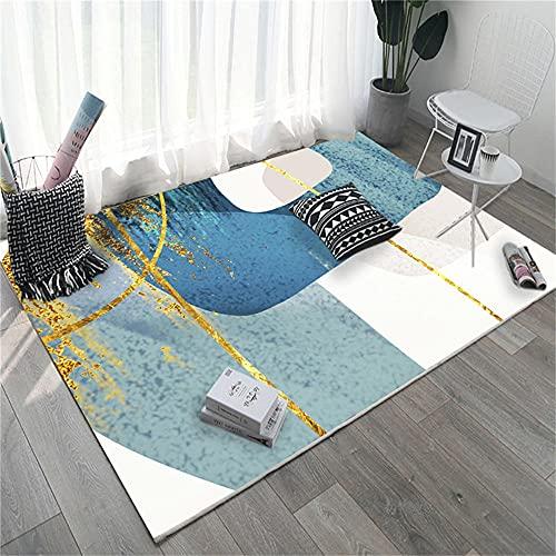 Respirable alfombras de Juegos para niños Elementos Abstractos Blancos Azules Amarillos Alfombra Infantil 180X250cm