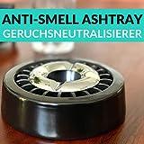 Praknu 3 Aschenbecher Gluttöter Schwarz Rund - Spülmaschinenfest - Rostfrei - Für 21 Zigaretten - 7