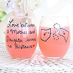 mother's day gift personalized wine glasses