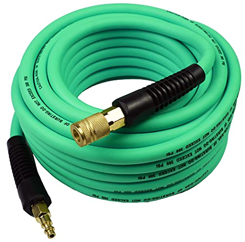 YOTOO Hybrid Air Hose 3/8-Inch by 50-Feet 300 PSI Heavy Duty, Lightweight, Kink Resistant, All-Weather Flexibility with 1/4-Inch Industrial Air Fittings and Bend Restrictors