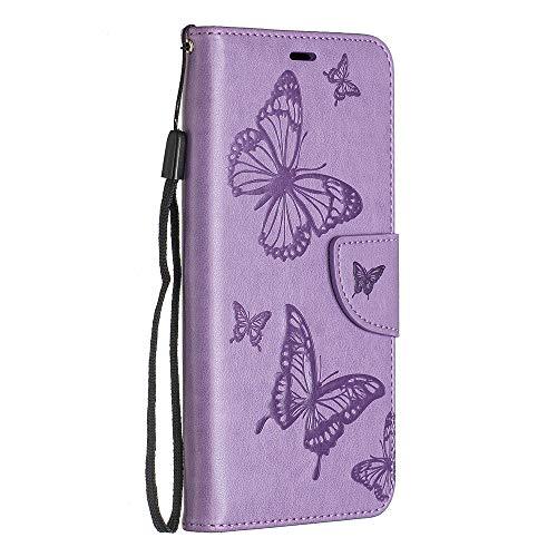 BravoDay Galaxy S10 Hülle, Premium Leder Tasche Flip Wallet Case [Kartenfächern] PU-Leder Schutzhülle Brieftasche Handyhülle für Galaxy S10-Violett