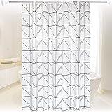 DER Wasserdicht Weißes Dreieck Linie Duschvorhang Duschvorhang Trennvorhang Vorhang Bad wasserdicht Mehltau Badezimmer Hotel (Color : Triangle line, Size : 220 * 200cm)