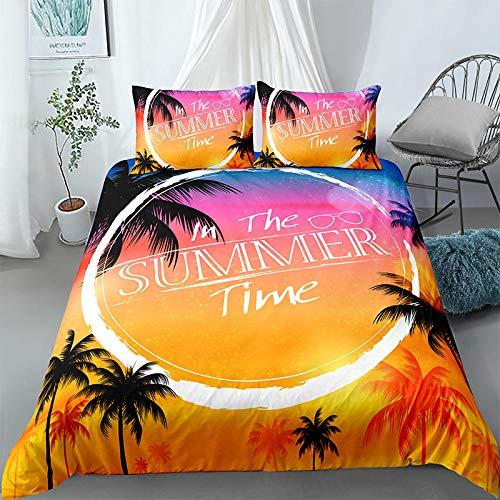 Weilaike - Set di biancheria da letto, 3 pezzi, motivo: palme tropicale, spiaggia, via lattea e stelline, in morbida microfibra con 2 federe