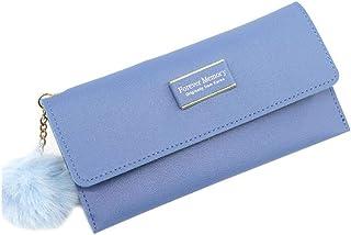GUMAOPAJIAAAqb Monederos de Mujer, Fashion Women's Tassel Ball Bag PU Wallet Furry Ball Pendant Mid-length Wallet Candy-Co...