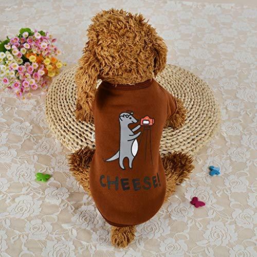 Fenverk Hundemantel Hund Hoodies Kleidung, Pet Puppy Katze Niedlicher Baumwoll Warm Coat Pullover Wintermantel Haustier Mantel Kleider(A Kaffee,S)