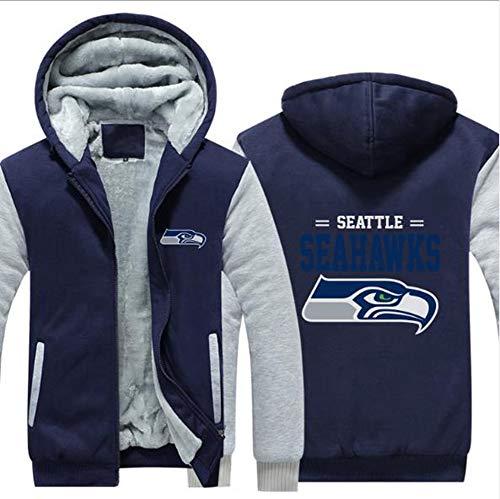 CCKWX NFL Hoodie - Seattle Seahawks American Football Männer Trainings Sweatshirt, Warme Fleece Sport Pullover Sportbekleidung,C,M