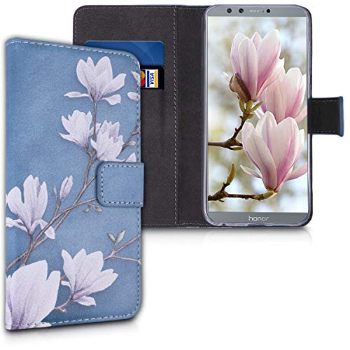 kwmobile Hülle kompatibel mit Huawei Honor 9 Lite - Kunstleder Wallet Hülle mit Kartenfächern Stand Magnolien Taupe Weiß Blaugrau