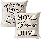 W-wishes Hogar Dulce hogar Fundas de Almohada Fundas de cojín de Lino de algodón, Funda de cojín Acogedor, decoración del hogar