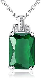 Roapk Collana con Ciondolo di Smeraldi Naturali per Donna Gioielli in Argento 925 Regali per Feste di Anniversario in Piet...