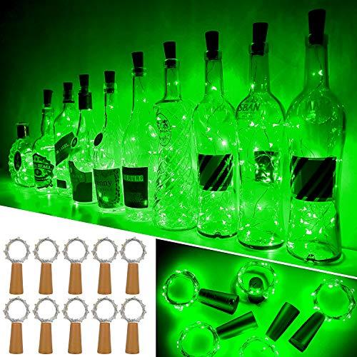 Luces Para Botellas, Ariceleo 10 Piezas 2 Metros 20 LED Cobre Alambre Luces Led para Botellas con Pilas, Corcho Lamparas Cadena Luz de Botella Decorativas Para Fiesta Boda Navidad DIY (Verde)