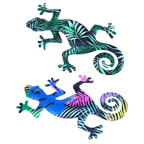 SHWYSHOP 2 piezas de metal lagarto arte de pared inspirador 3D escultura de pared grande colgante Gecko lagarto 3D hierro decoración de pared para interior exterior