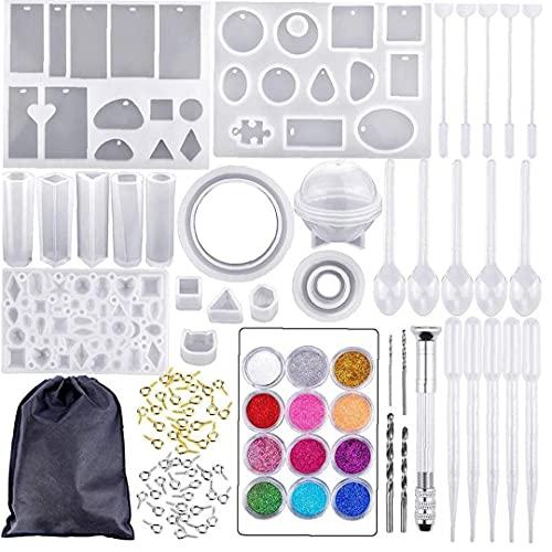 RRunzfon Pendientes de Bricolaje Accesorios de Moho epoxi, 94 Conjuntos de Bricolaje