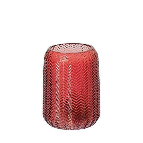 Riverdale Windlicht/Vase Bolton aus Glas burgund/dunkelrot 15,5 cm - Blumenvase - Dekoidee - Geschenkidee - Teelicht - Weihnachten - Hochzeit