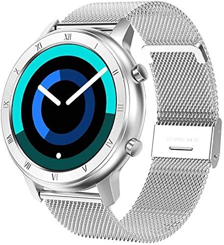 1.2 pulgadas pantalla táctil completa reloj inteligente fitness tracker con monitor de ritmo cardíaco monitoreo del sueño podómetro Bluetooth IP68 impermeable actividad tracker-silver steel