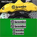R&G Brembo 6 Piston & 4 piston High Temp Brake Caliper Decal Sticker Set of 4 (Black)