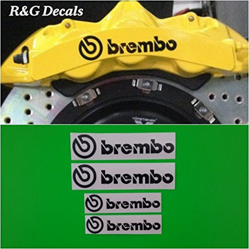 R&G Brembo 6 Piston & 4 Piston High Temp Brake Caliper Decal Sticker Set of 4 Decals + Instructions + Decal Surface Preparation Solution (Black)