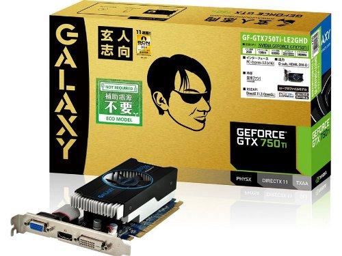 {玄人志向 グラフィックボード NVIDIA GeForce GTX750Ti PCI-Ex16 LowProfile 2GB 補助電源なし GF-GTX750TI-LE2GHD}