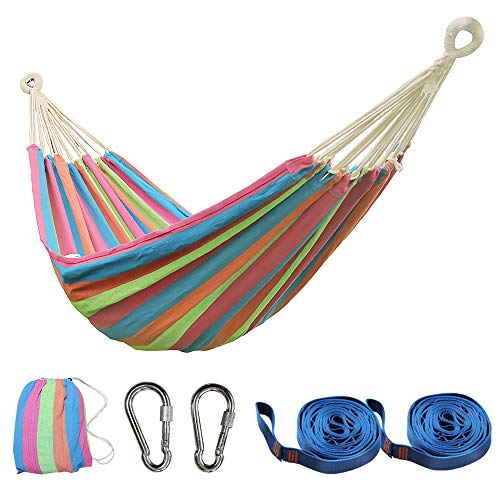 PIRNY Single Cotton Hammock,Hanging Swing Bed,Up to 400 Lbs,incude 20 ft of Tree Swing Straps and 2 Carabiner,for Indoor Outdoor Garden Patio Park Porch(Pink Stripes)