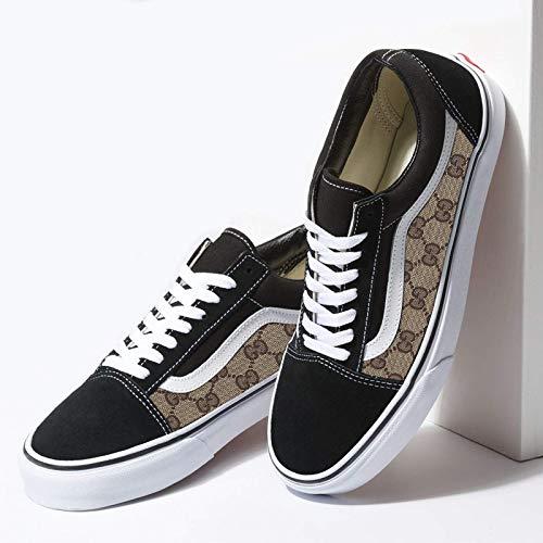 Vans Black Old Skool x GG Print Pattern Custom Handmade Shoes By Fans Identity
