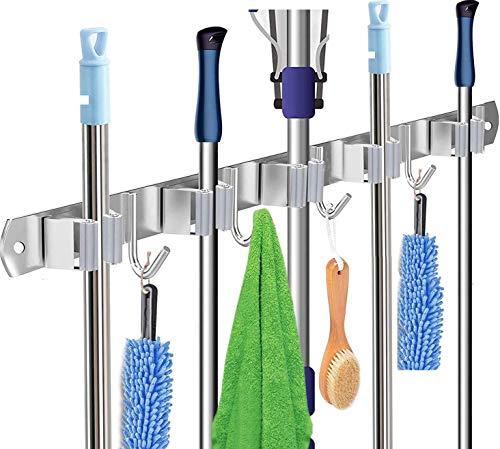 Edelstahl Besenhalter, Gerätehalter Wandhalterung, Mop Halter Ordnungsleiste mit 5 Schlitze und 4 Haken für Zuhause, Küche, Bad, Garage, Garten