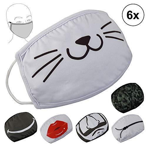 6er Set Mundschutz waschbar Wiederverwendbare Atemschutzmaske 100% Baumwolle 2lagig mit 6 Motiven Unisex Stoffmaske Alltagsmaske Sicherheit