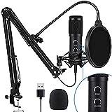 Cobeky BM838 - Juego de micrófono de estudio de condensador USB para grabación de PC vocal y karaoke