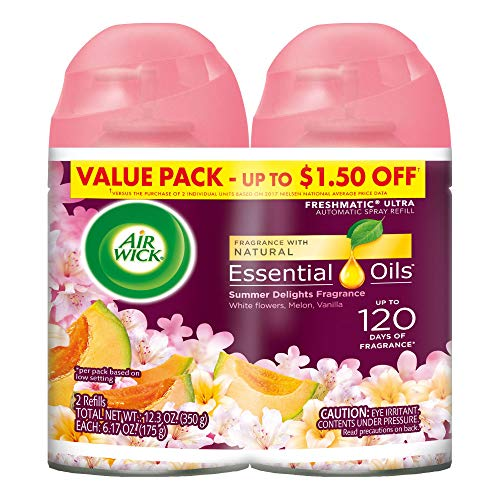 Air Wick Pure Freshmatic 2 Refills Automatic Spray, Summer Delights, 2ct, Air Freshener, Essential Oil, Odor Neutralization, Packaging May Vary