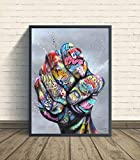 Graffiti Wall Art Fingers and Fists Canvas Painting Abstract Poster Colorful Canvas Print Wall Pictures for Living Room Decor(No Frame)