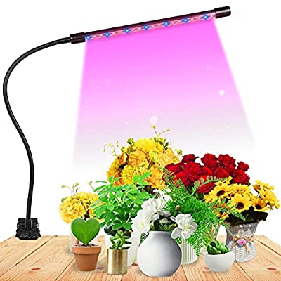 Grow Light for Indoor Plant Growing LED Grow Light Single Heand 9 Dimmable Settings, Horizontal Plant Growth Lamp for Indoor Plants with Red/Blue Spectrum, Adjustable Gooseneck, 3/9/12H Timer (Blue)