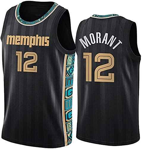 Jersey de baloncesto para adultos, chaleco bordado de verano Nba 12 #, parte superior de ventilador de swinger casual y cómodo, negro - XXL-XXLarge