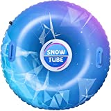 BAYKA Snow Tube for Winter Fun, Inflatable 47 Inch Heavy Duty...