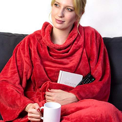 Personalisierte Kuscheldecke mit Namen (Rot) - Decke mit Ärmeln | Mit Bestickung nach Wunsch | Super als TV-Decke mit Ärmeln | Super Geschenk für Frauen | Fleecedecke