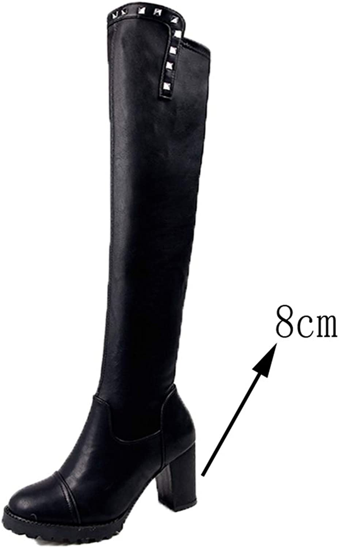 T -JULY Autumn Winter Winter Winter Woherrar mode Snow Över Knee stövlar Slim Rivet Thigh High klackar Sexiga skor  Vi erbjuder olika kända varumärken