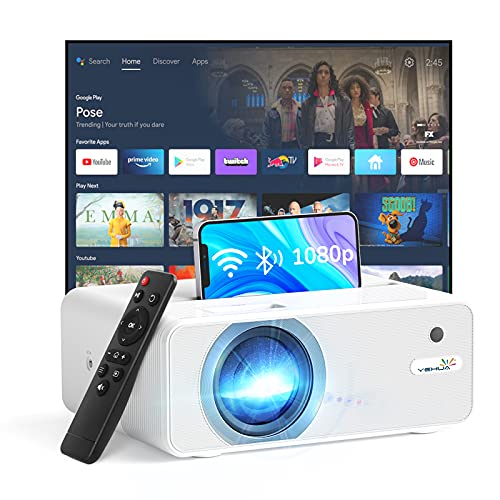 YEHUA WiFi Projector, 4K HD Outdoor Projector Mini Projector with Remote, 1080P & 200' Screen Supported, Movie Home Theater for TV Stick, Video Games, PS4, HDMI, USB, AUX, AV, Laptop,PC, iOS & Android