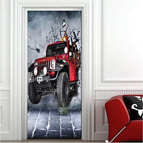 SUDIKE Adhesivo decorativo para puerta con diseño de coche retro roto